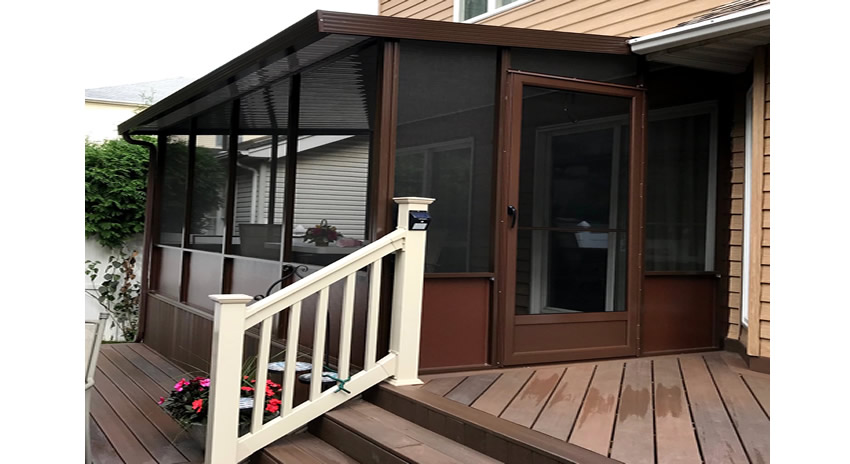 Brown Aluminum Screen Room and Screen Door